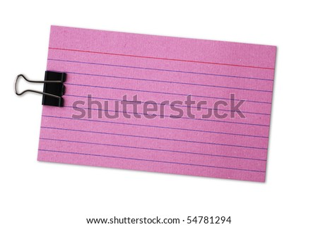 Red blank index cards with lines. Isolated on white background, saved with clipping path. - stock photo