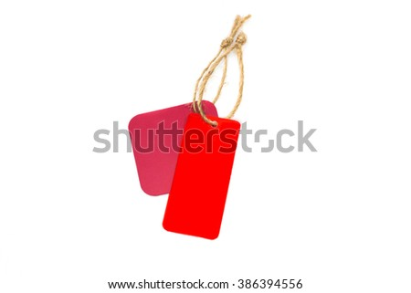Red blank price tag isolated on white background