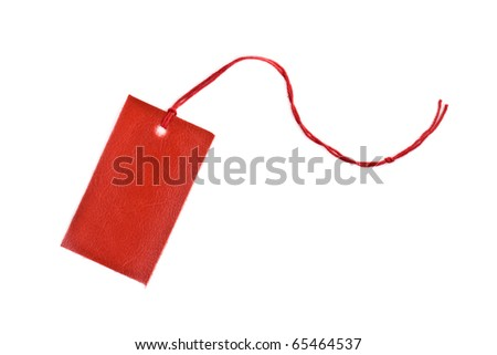 Red blank product label isolated on white background - stock photo