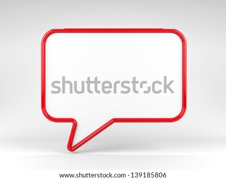 Red blank speech bubble, three-dimensional rendering - stock photo