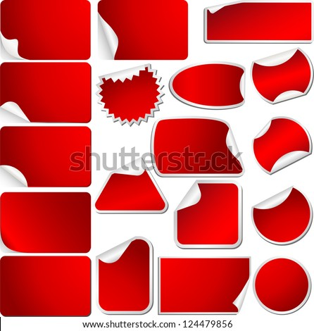 Red Blank Sticky Curled Paper Set Isolated on White.