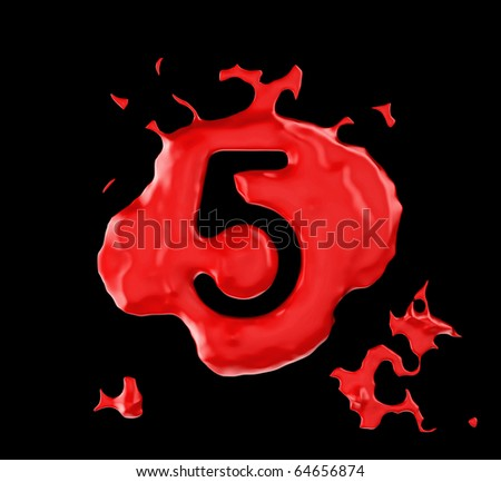 Red blob five figure over black background. Large resolution - stock photo