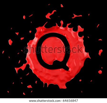 Red blob Q letter over black background. Large resolution - stock photo