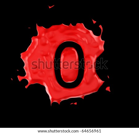 Red blob zero figure over black background. Large resolution - stock photo