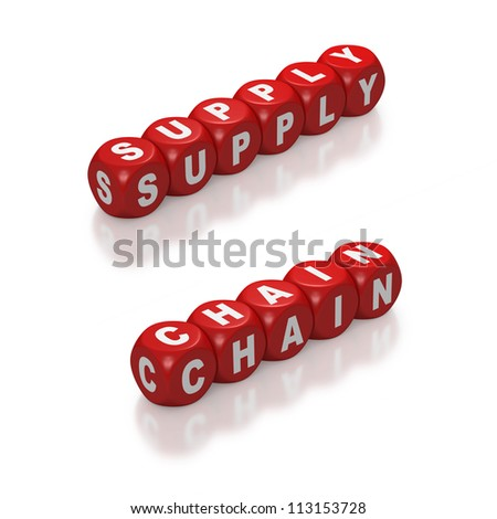 Red blocks with concept of Supply Chain on white background