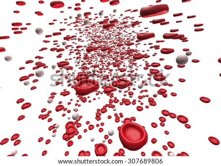 red blood cells flowing through an artery. - stock photo