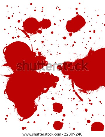 red blood splatter on a white background