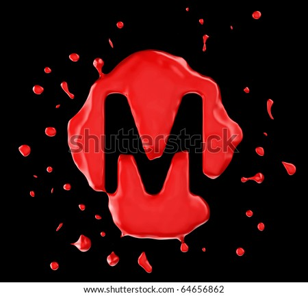 Red blot M letter over black background. Large resolution - stock photo