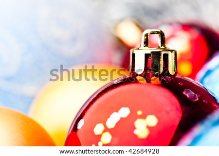 Red, blue and gold christmas balls macro - stock photo