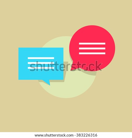 Red blue cloud bubble speech with abstract text, concept of dialog balloon, circle dialogue box, talk, internet chat, communication messages, discussion, chatting design illustration isolated image - stock photo