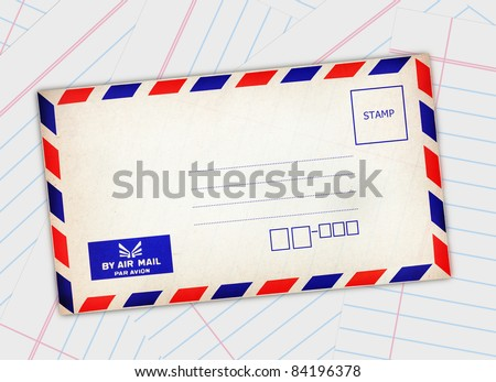 Red-blue edge postal envelope on paper background - stock photo