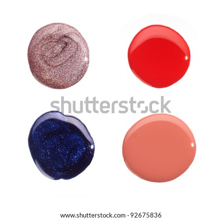 Red, Blue, Light Violet and Pink Nail Polish Drops Sample Isolated on White Background - stock photo