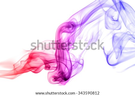 Red blue smoky modern color on white background - stock photo