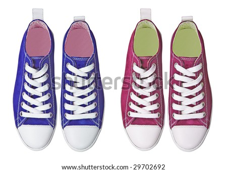 red blue sport shoes - stock photo