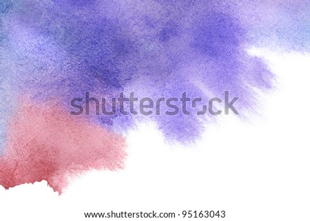 Red-blue spot, watercolor abstract hand painted background - stock photo