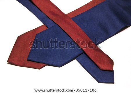 red blue tie on a white background isolated - stock photo