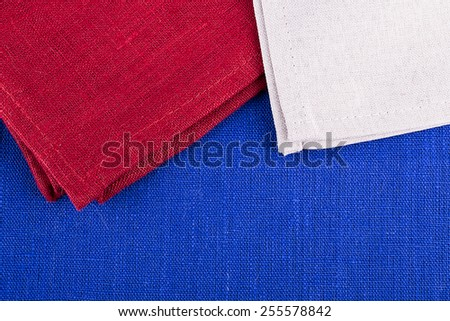 red blue white cloth fabric background close up - stock photo