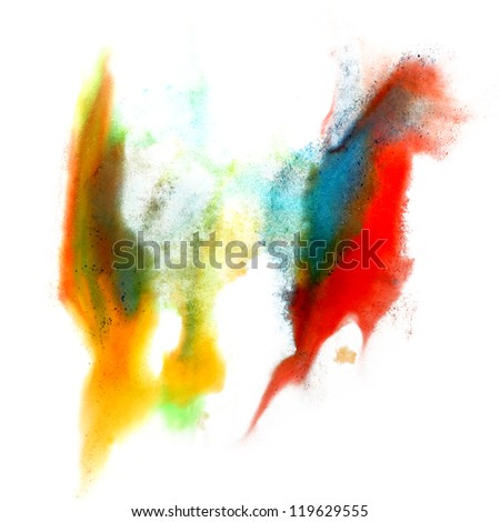red blue yellow green macro spot blotch texture isolated on white background