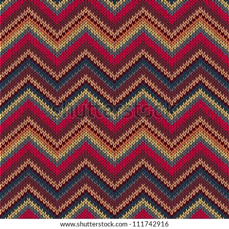 Red Blue Yellow Knit Texture , Beautiful Knitted Fabric Pattern - stock photo