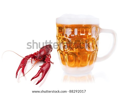 red boiled crawfish and mug of beer over the white - stock photo