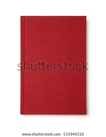 Red book with blank cover isolated