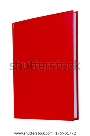Red book with blank hardcover standing isolated on white background