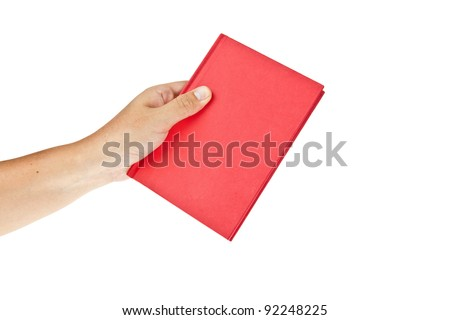 Red book with hand isolated on white background - stock photo
