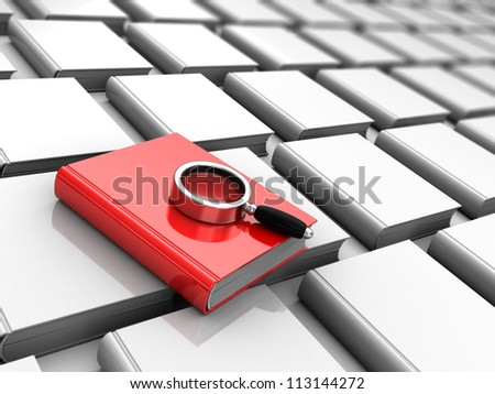 Red book with magnifier above grey literature, analyzing concept - stock photo