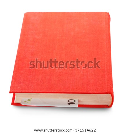 Red book with nested euro banknote, isolated on white. Stash of money - stock photo
