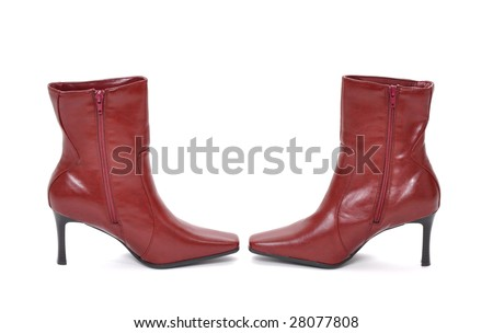 Red boots end to end on a white background - stock photo