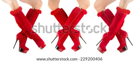 red boots on a white background - stock photo
