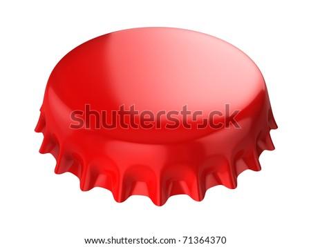 red bottle cap 3d illustration - stock photo