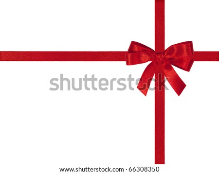 Red bow and crossed ribbons isolated on white. - stock photo