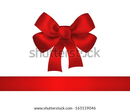Red bow and ribbon isolated on white background. Closeup illustration - stock photo