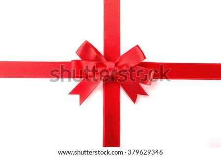 red bow and ribbons, isolated on white