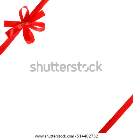 Red bow and ribbons isolated on white background