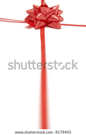 Red bow and ribbons on a white background