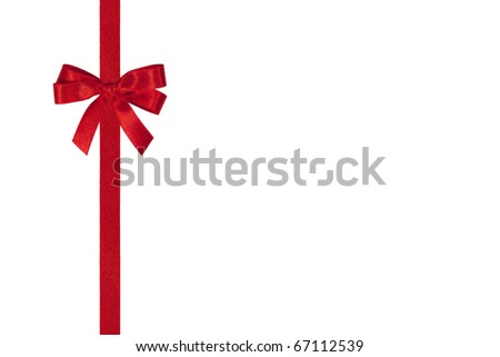 Red bow and vertical ribbon isolated on white.
