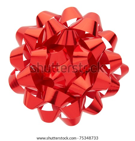 Red bow isolated on white background, clipping path included - stock photo