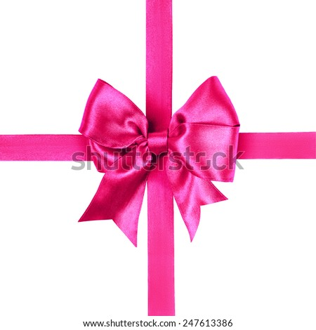red bow made from silk ribbon isolated - stock photo