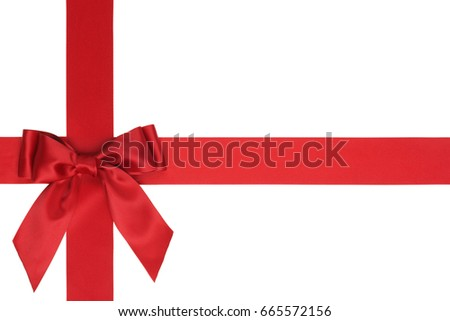 Red bow on red ribbon decoration, isolated on white background