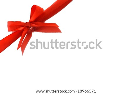 Red bow ribbon and reflection on white background with copy space