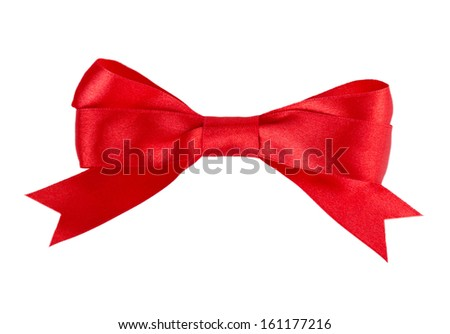 red bow ribbon isolated on white background - stock photo