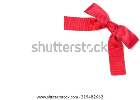 Red bow ribbon isolated on white with empty space - stock photo