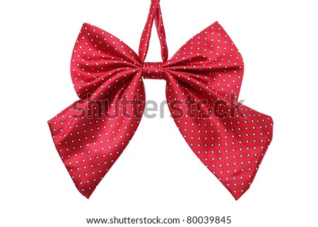Red Bow tie for women, isolated on white - stock photo