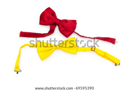 Red bow tie isolated on the white - stock photo