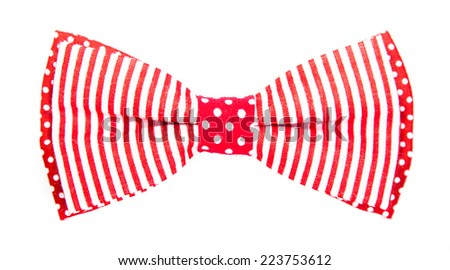 red bow tie with stripes and polka dots on an isolated white background - stock photo