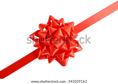 Red bow with diagonal ribbon isolated on white background