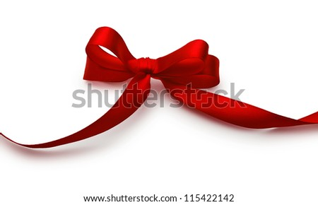 Red bow with shadow on a white background - stock photo