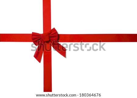 Red bow with white background - stock photo